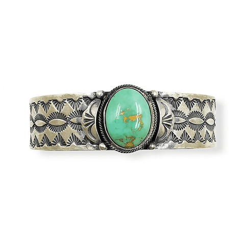 Image of Navajo Royston Turquoise Hand Stamped Bracelet