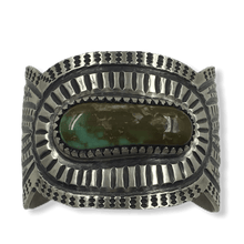 Load image into Gallery viewer, Navajo Royston Turquoise Stamped Bracelet