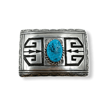 Load image into Gallery viewer, Navajo Sleeping Beauty Turquoise Belt Buckle