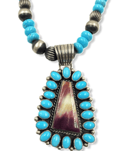 Load image into Gallery viewer, SOLD Navajo Sleeping Beauty Turquoise/Purple Spiny Oyster Necklac.e
