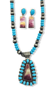 SOLD Navajo Sleeping Beauty Turquoise/Purple Spiny Oyster Necklac.e