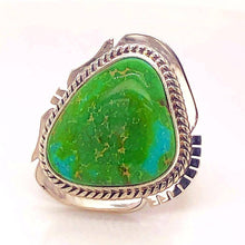 Load image into Gallery viewer, SOLD Navajo Sonoran Turquoise Rin.g -Twist Wire