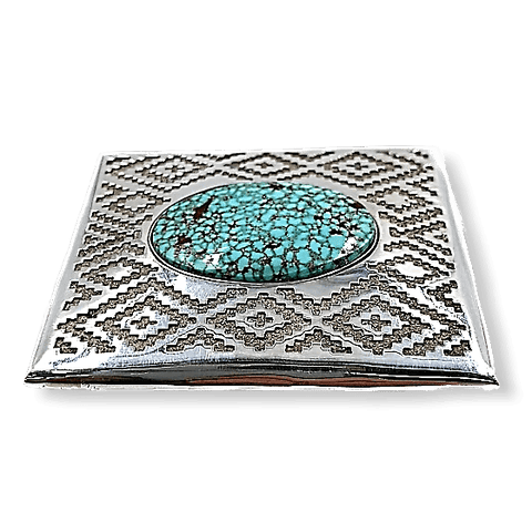 Image of Navajo Spiderweb Turquoise Belt Buckle JR Tolino