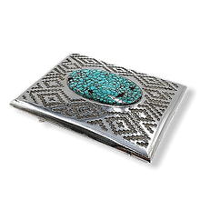 Load image into Gallery viewer, Navajo Spiderweb Turquoise Belt Buckle JR Tolino