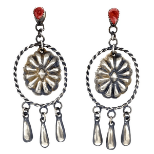 Navajo Spiny Oyster Stamped Dangle Earrings