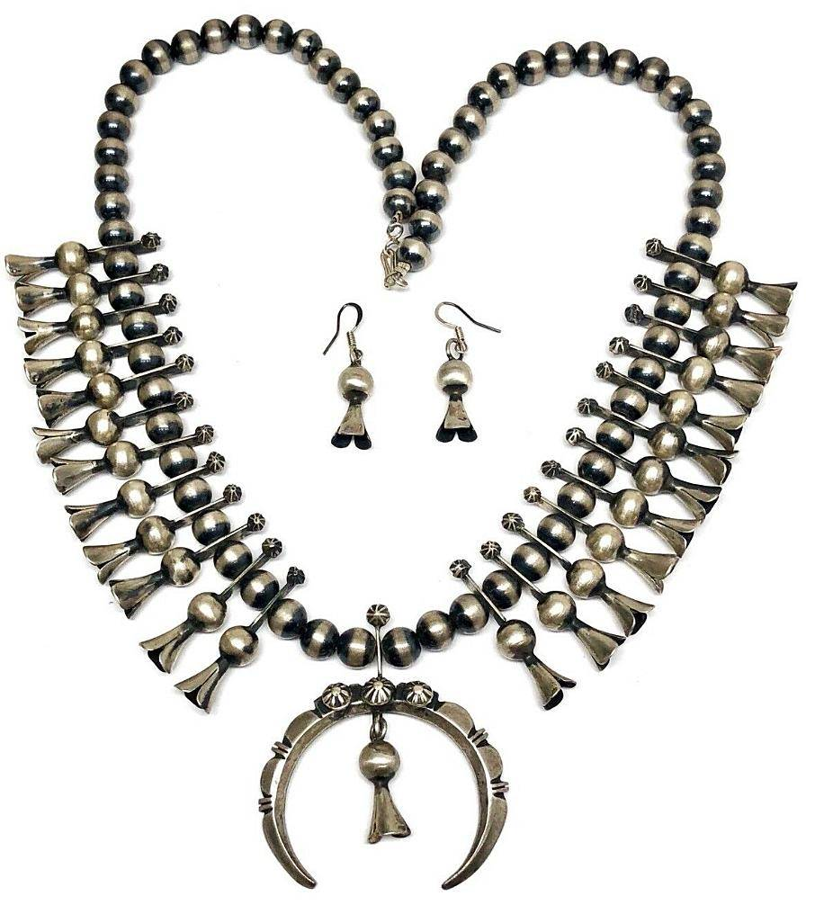 Navajo Sterling Silver Squash Blossom Necklace Set