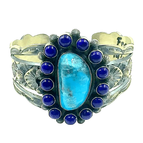 Image of Navajo Turquoise And Lapis Bracelet -Freddie Maloney