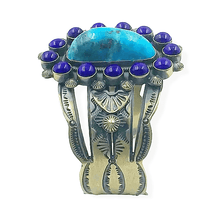 Load image into Gallery viewer, Navajo Turquoise and Lapis Bracelet -Freddie Maloney