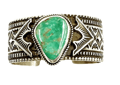 Image of Navajo Turquoise Bracelet With Stamping-Wide