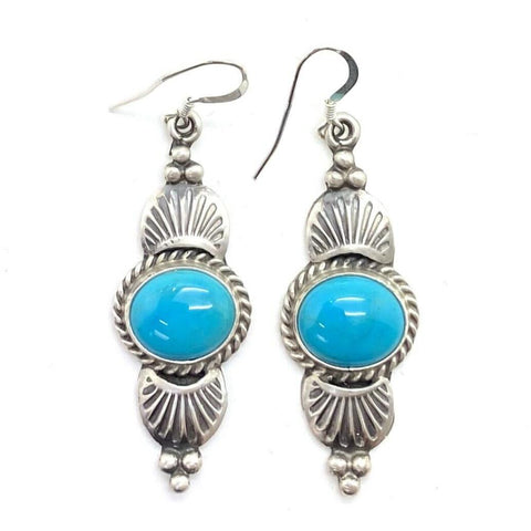 Image of Navajo Turquoise Earrings By Mike Calladitto