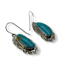 Load image into Gallery viewer, Navajo Turquoise Mountain Hook Earrings