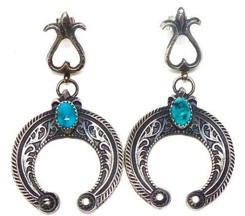 Navajo Turquoise Naja Earrings