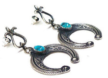 Load image into Gallery viewer, Navajo Turquoise Naja Earrings