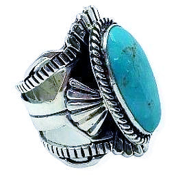 Image of Navajo Turquoise Ring-Lorenzo James