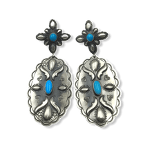 Load image into Gallery viewer, Navajo Turquoise Stamped Earrings