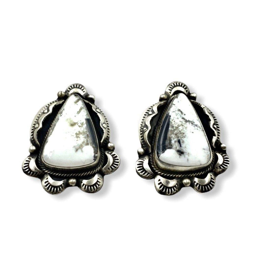 Navajo White Buffalo Earrings Triangular Stone-Old Style