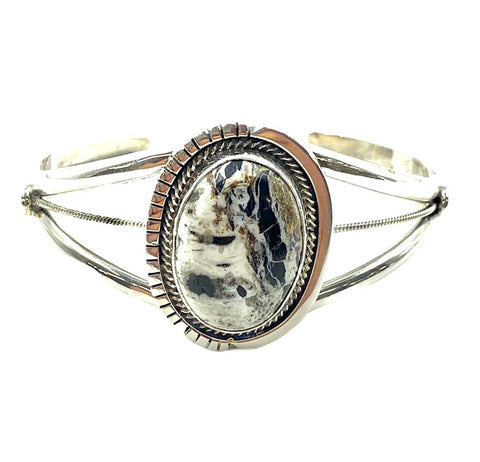 Image of Navajo White Buffalo Oval Bracelet