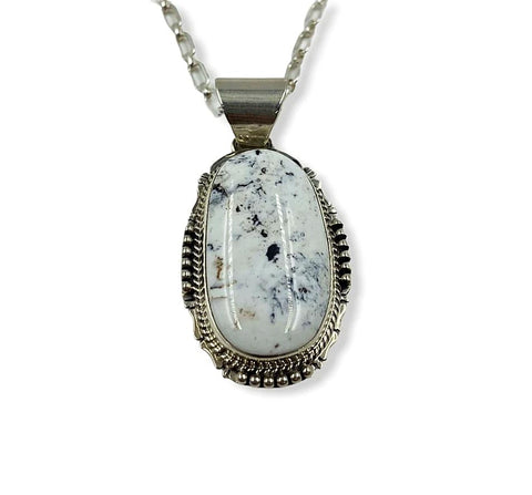 Image of Navajo White Buffalo Pendant W/ Chain