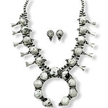Load image into Gallery viewer, Navajo White Buffalo Squash Blossom Necklace