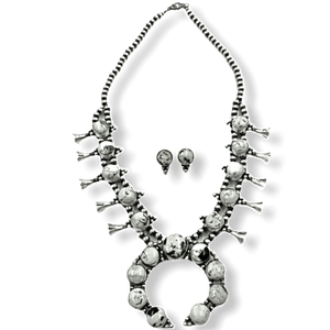 Navajo White Buffalo Squash Blossom Necklace