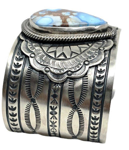 SOLD Navajo Wide Golden Hills Turquoise Brace.