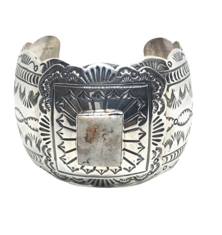 Image of Navajo Wide Stamped Dry Creek Turquoise Bracelet