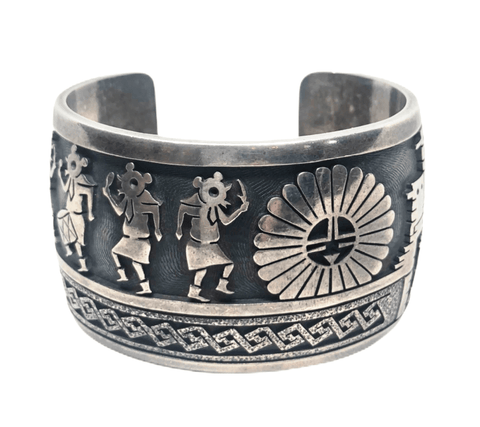 Image of Old Pawn Hopi Kachina Dancers And Sunface Ceremonial  Bracelet