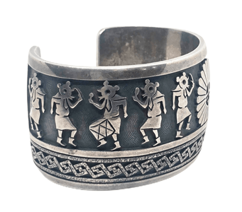 Old Pawn Hopi Kachina Dancers And Sunface Ceremonial  Bracelet