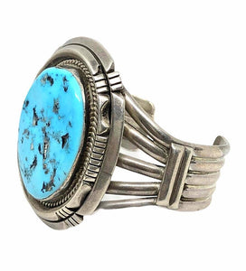 Pawn Navajo Large Stone Sleeping Beauty Turquoise Cuff