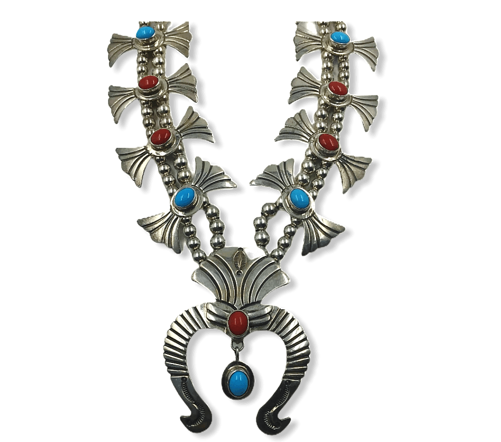 Pawn Navajo Turquoise & Coral Squash Blossom