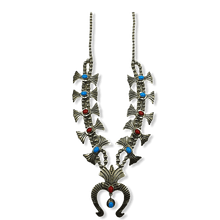 Load image into Gallery viewer, Pawn Navajo Turquoise & Coral Squash Blossom