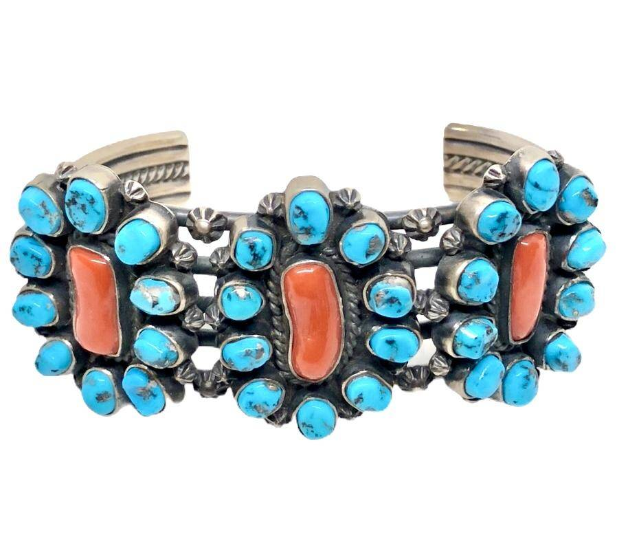 SOLD Navajo Sleeping Beauty Turquoise and Coral Br