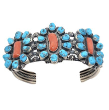 Load image into Gallery viewer, SOLD Navajo Sleeping Beauty Turquoise and Coral Br