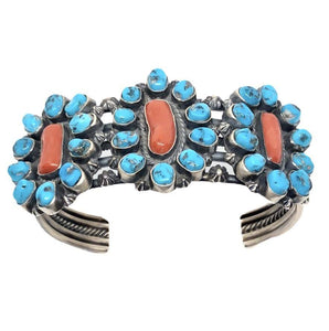 Pawn Sleeping Beauty Turquoise And Coral Bracelet