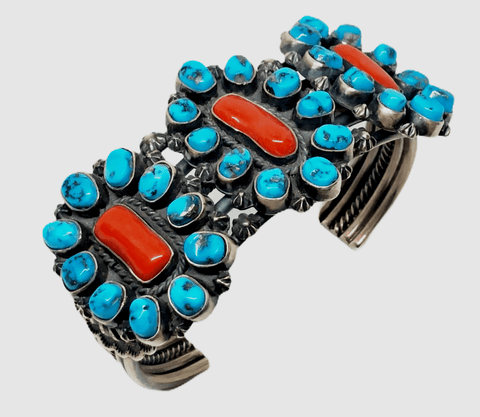 Image of Pawn Sleeping Beauty Turquoise And Coral Bracelet