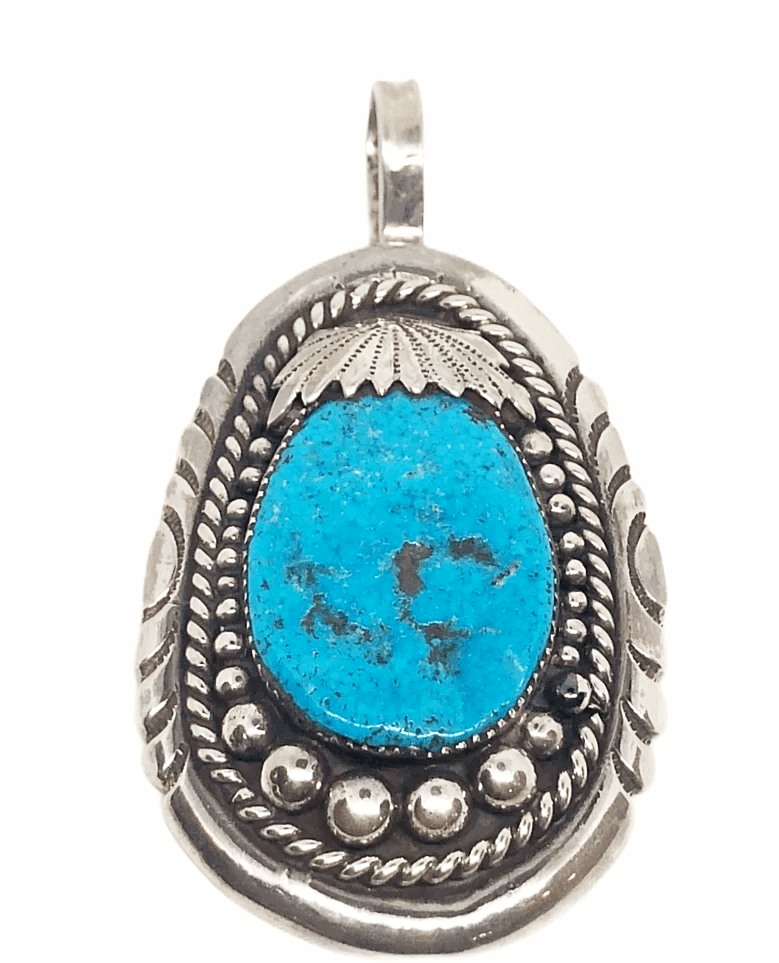 Pawn Zuni Sleeping Beauty Turquoise Nugget Pendant