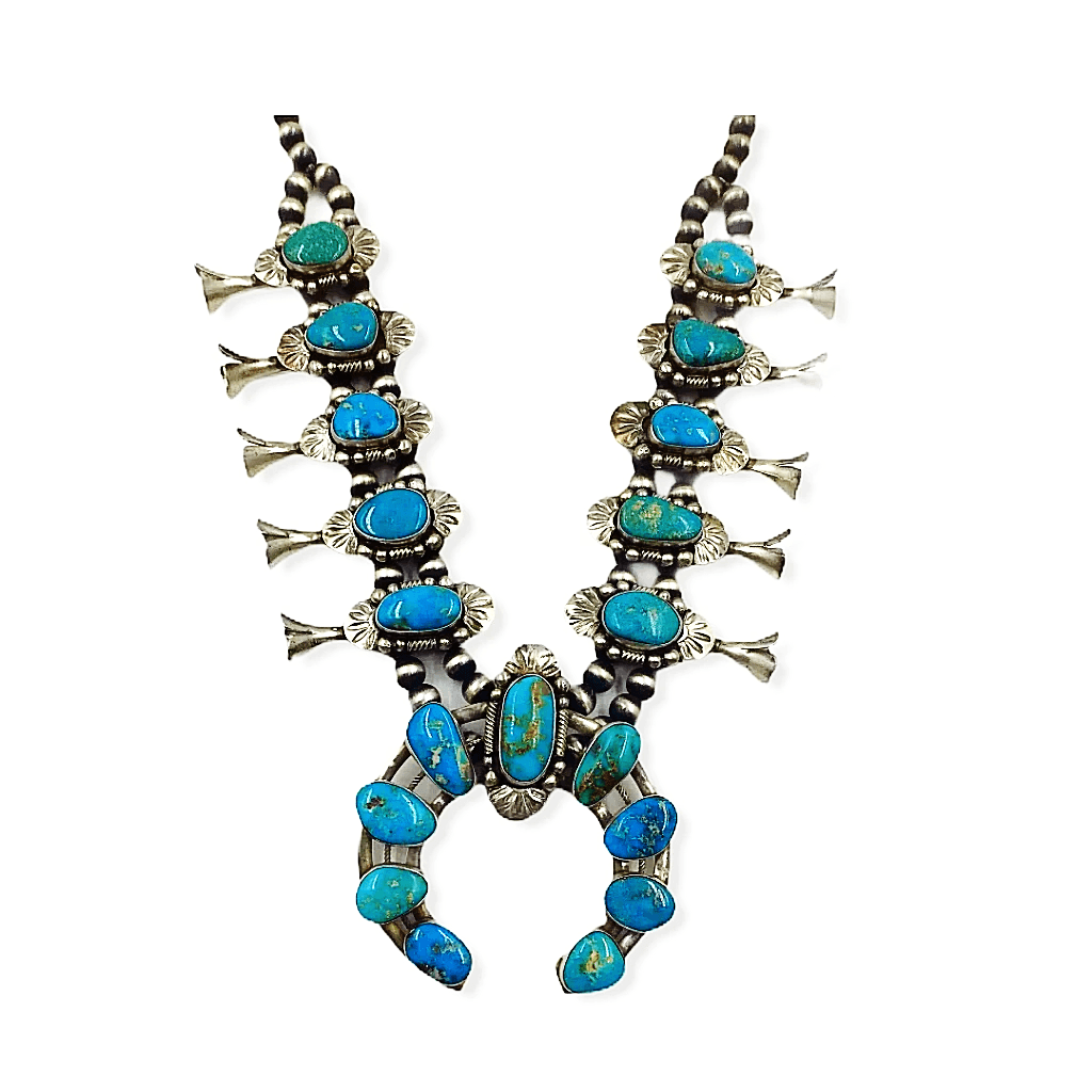 Richard Hoskie Navajo Pawn Squash Blossom Necklace