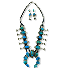 Load image into Gallery viewer, Richard Hoskie Navajo Pawn Squash Blossom Necklace
