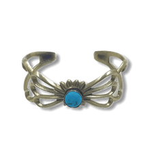 Load image into Gallery viewer, Sandcast Navajo Turquoise Pawn Bracelet