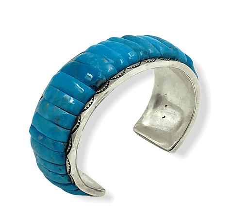 Image of SOLD Carlos Eagle Cobble Stone Kingman Turquoise Brace