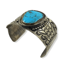 Load image into Gallery viewer, Stamped Turquoise Navajo Pawn Bracelet