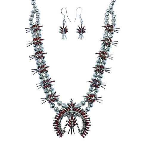 Image of Stunning Zuni Red Coral Needlepoint Necklace Set - Lorna Mahkee