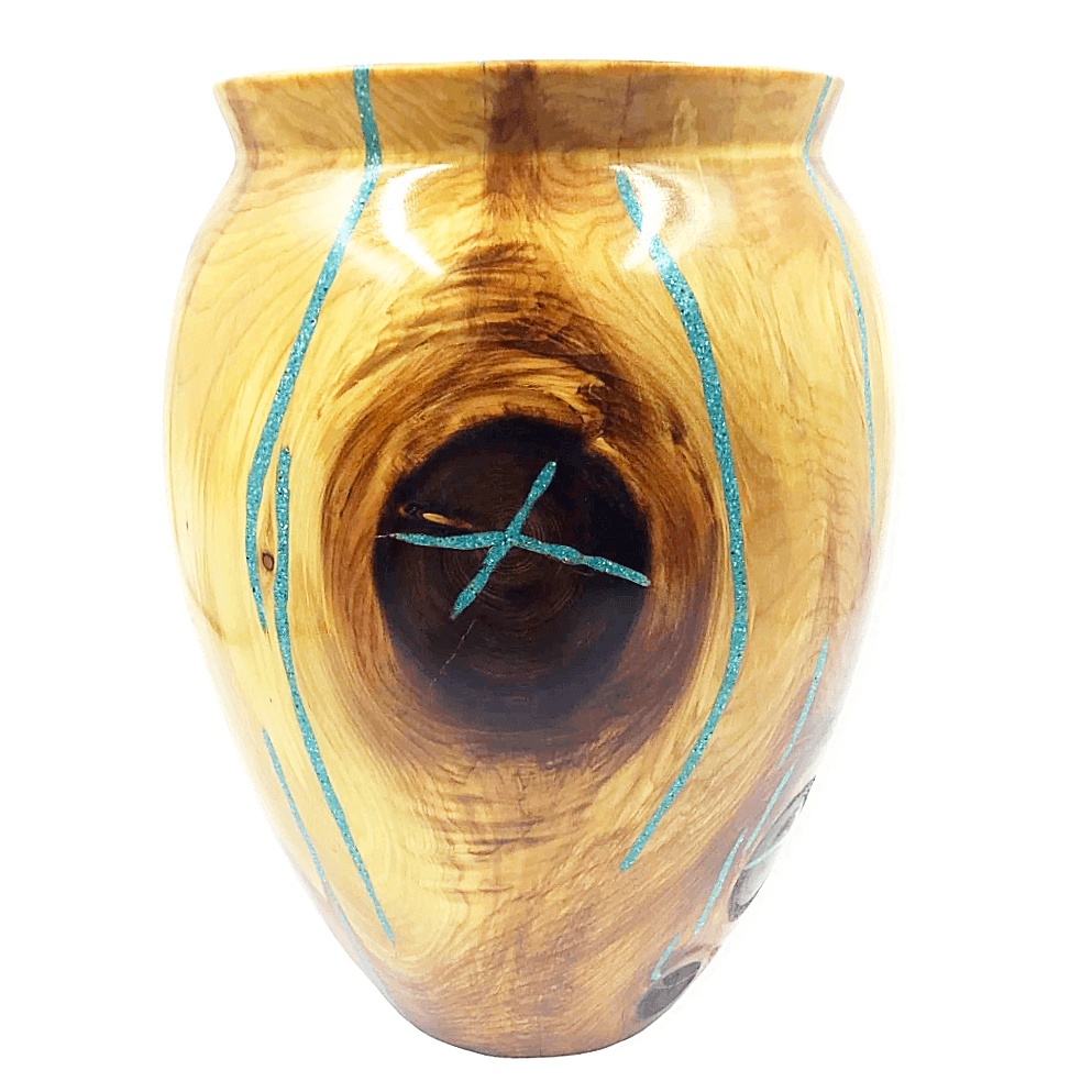 Turquoise & Cedar Wood Vessel by S. Heath