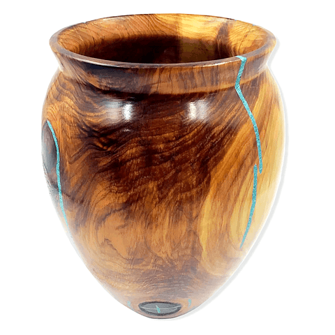 Image of Turquoise & Cedar Wood Vessel By S. Heath