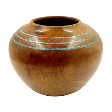 Load image into Gallery viewer, Turquoise Halo Mesquite Wood Turning by S. Heath