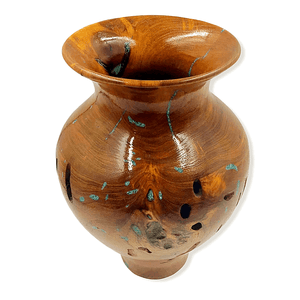 Turquoise & Mesquite Wood Turned Vessel By G. Austin