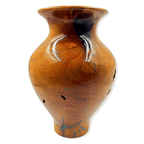 Image of Turquoise & Mesquite Wood Turned Vessel By G. Austin