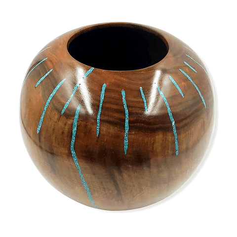 Turquoise Stream Walnut Wood Turning By S. Heath