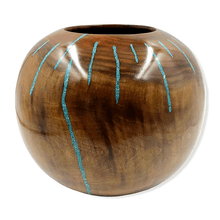 Load image into Gallery viewer, Turquoise Stream Walnut Wood Turning by S. Heath