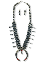 Load image into Gallery viewer, Navajo Coral Pawn Squash Blossom Necklace